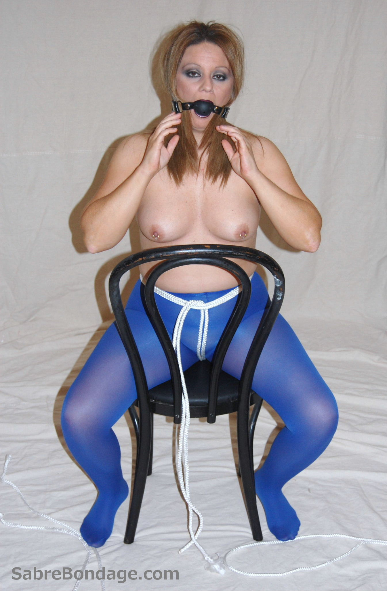 Tied in Blue Pantyhose