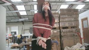 Caroline Pierce in bondage.