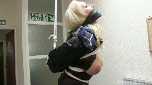 Hannah Claydon in bondage.