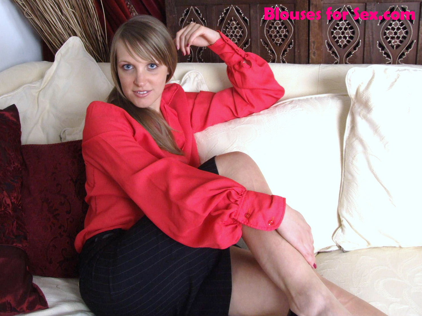 Relaxing in Blouse and Skirt