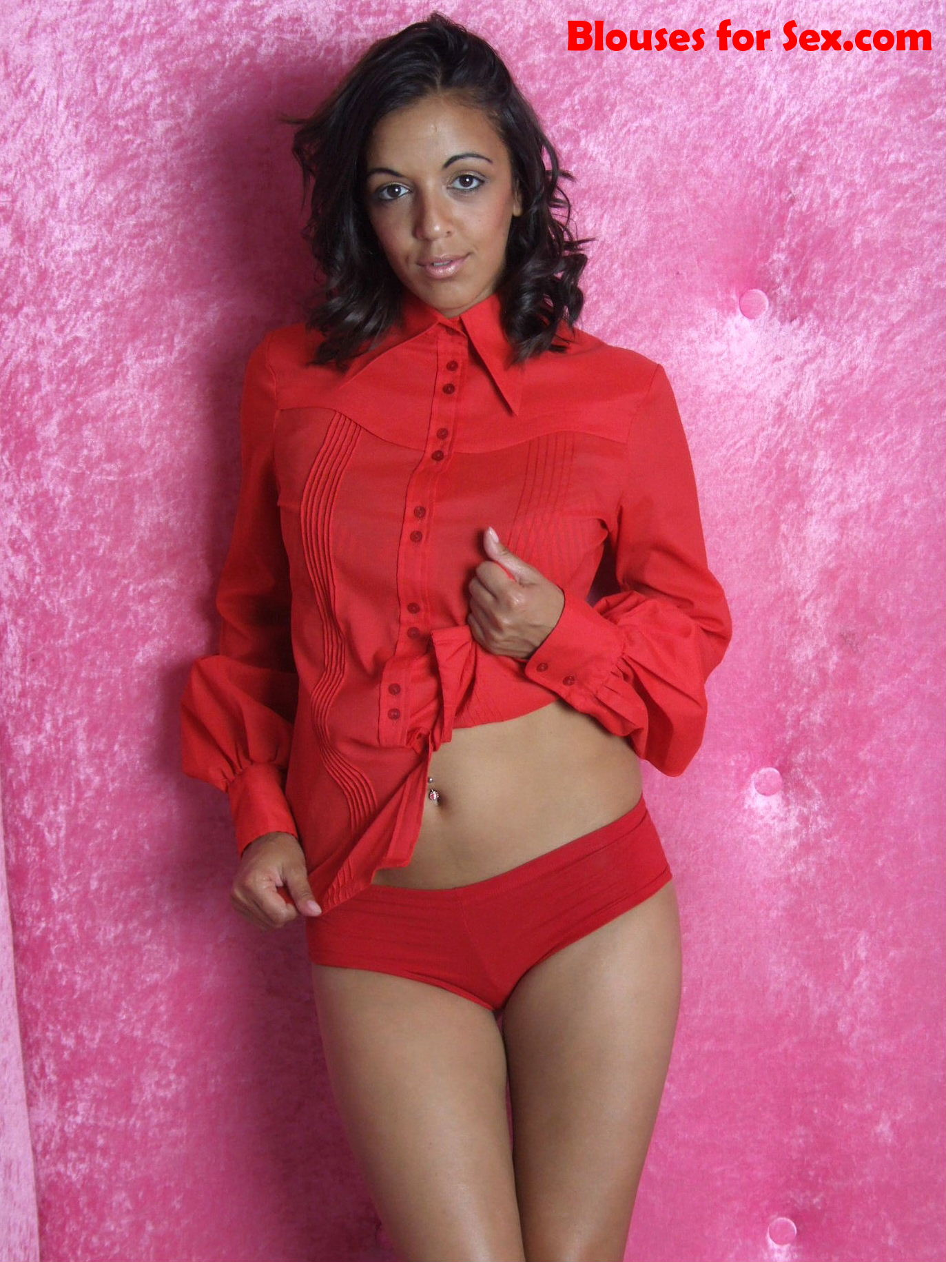 Buttoned in Blouse and Panties