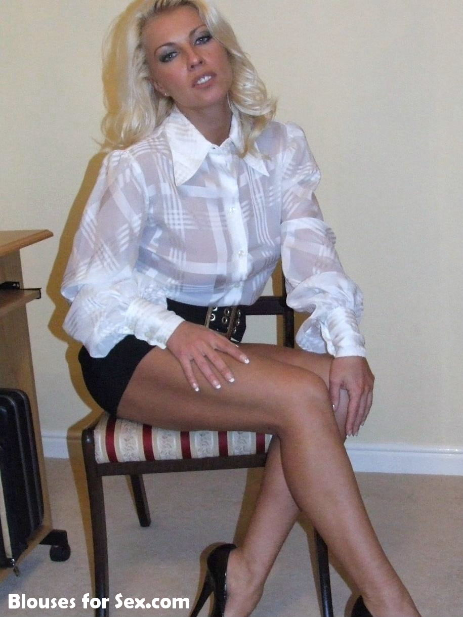 White Blouse, Belt and Heels