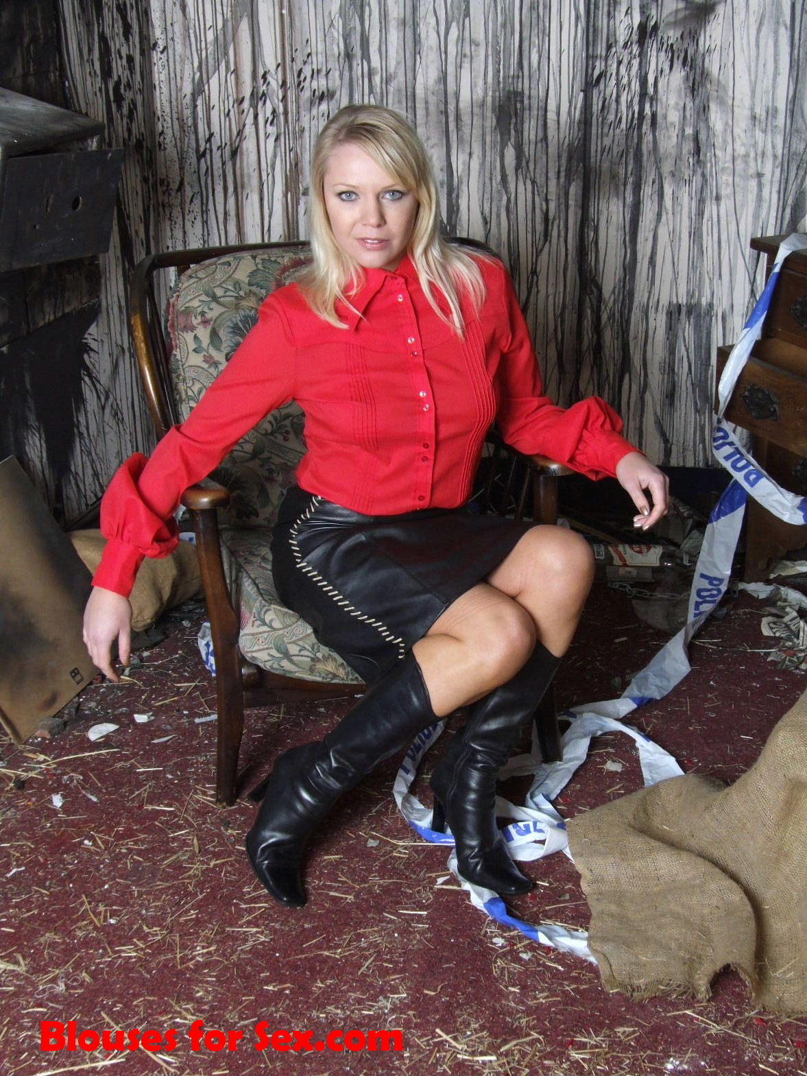 Buttoned in Blouse and Leather