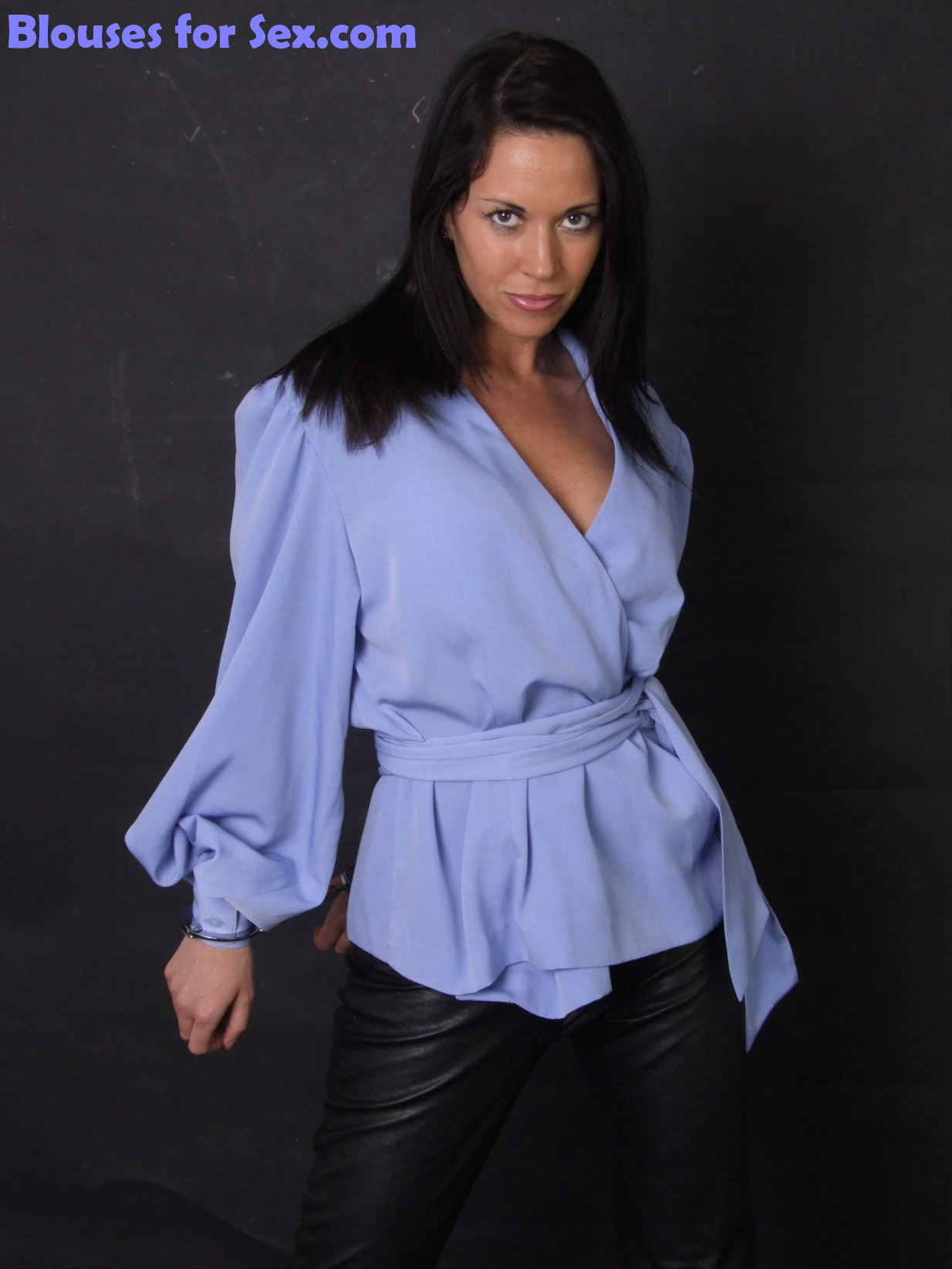 Tunic Blouse, Leather and Cuffs